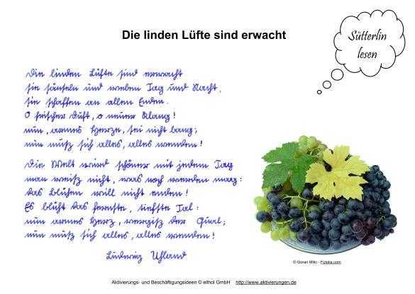 Gedichte in Sütterlin Schrift als Beschäftigung für Senioren mit Demenz